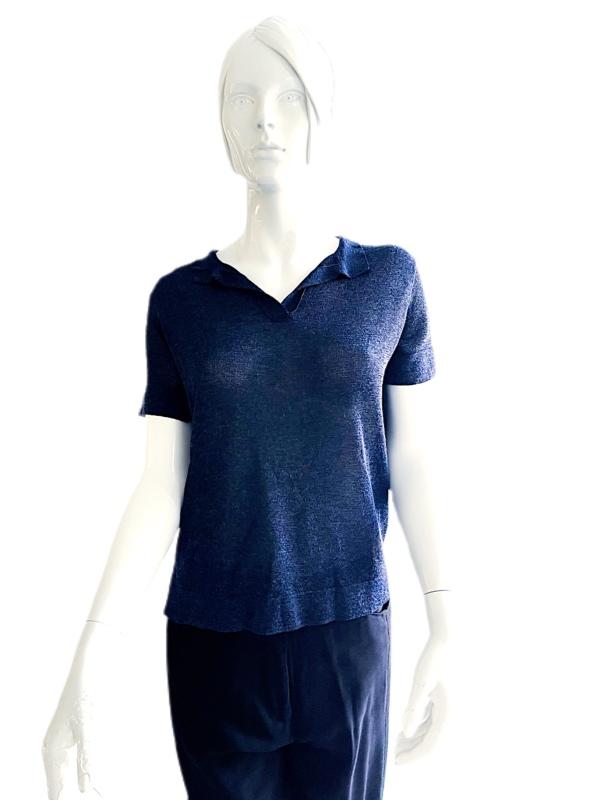 Biancoghiaccio   חולצה כחולה סרוגה ביאנקוג'אצ'יו