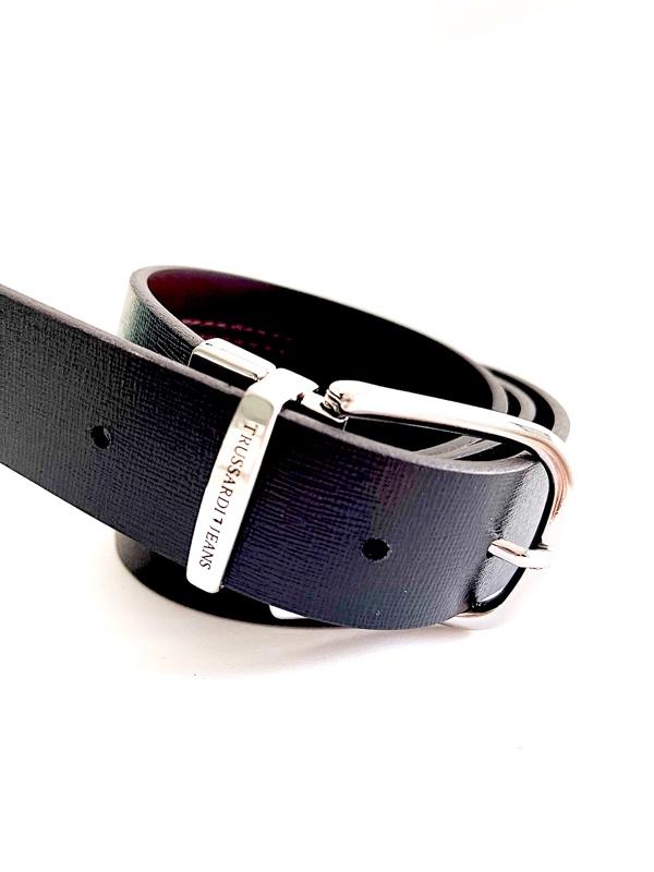 Trussardi   חגורה דו צדדית שחור/חום טרוסארדי