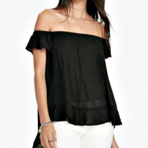 Ralph Lauren | חולצת סטרפלס שחורה ראלף לורן