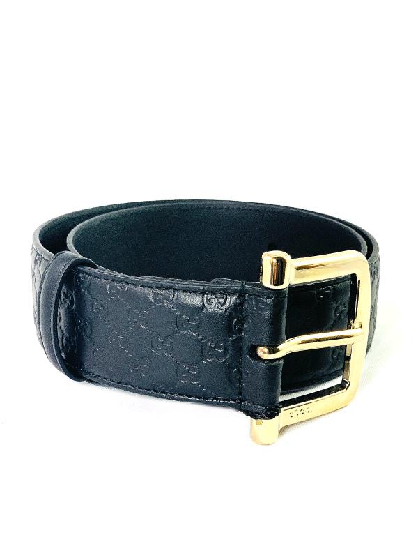 Gucci   חגורת עור לוגו שחורה גוצ'י