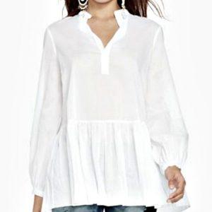 Ralph Lauren   חולצת אוברסייז לבנה ראלף לורן
