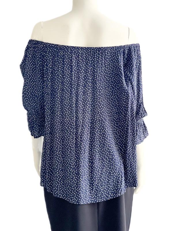 Ralph Lauren | חולצת סטרפלס נקודות ראלף לורן
