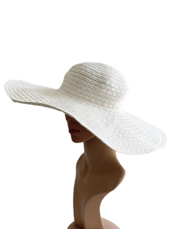 August Hat | כובע קש רחב שוליים לבן ניין ווסט