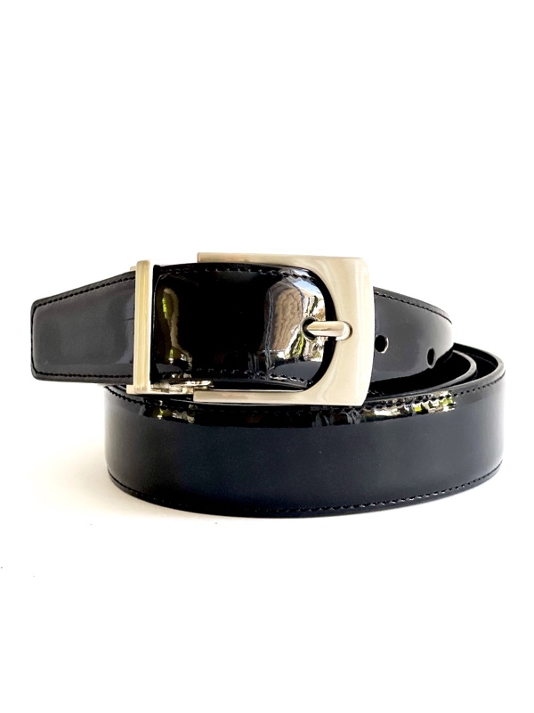 Calvin Klein | חגורה דו צדדית שחור/לק קלוין קליין