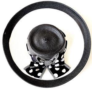 August Hat | כובע קש שחור/לבן אוגוסט הט