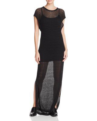 DKNY-Donna Karan   שמלת מקסי רשת שחורה דונה קארן