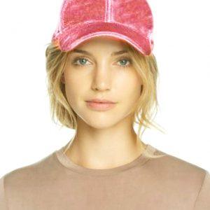 Echo | כובע קסקט קטיפה ורוד אצ'ו