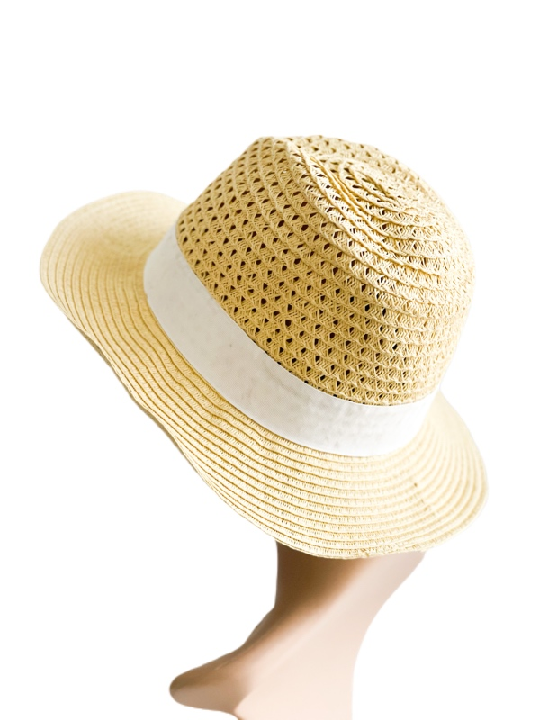 August Hat   כובע קש בז׳-לבן אוגוסט הט
