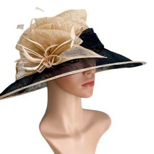 August Hat | כובע קש שחור/בז אוגוסט הט