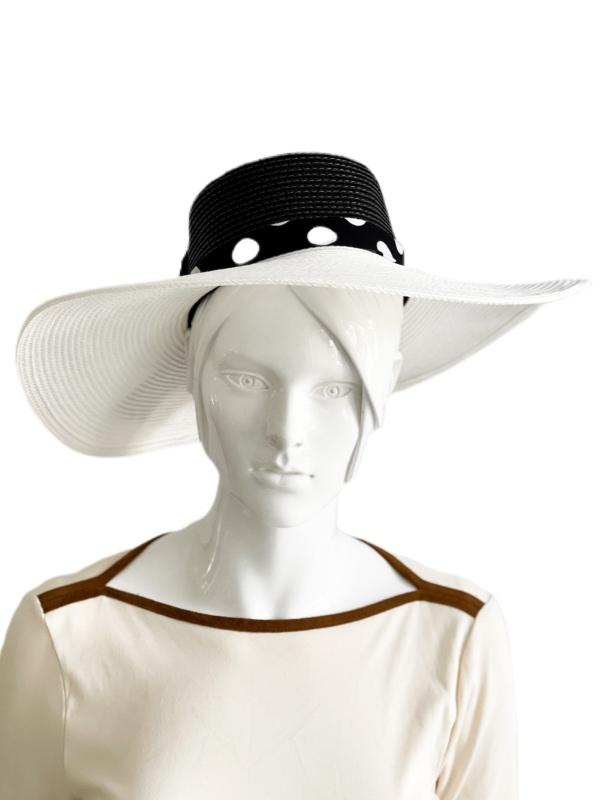 August Hat | כובע קש לבן/שחור אוגוסט הט