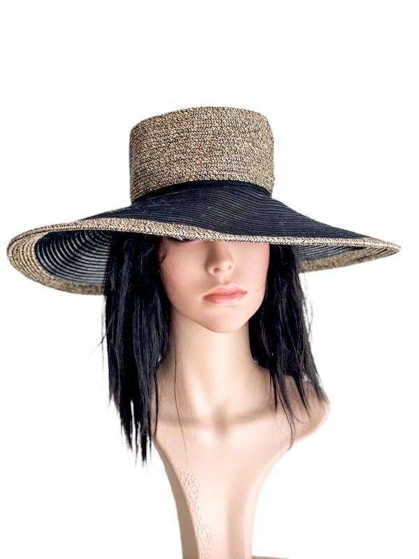 Nine West | כובע קש/שחור רחב שוליים ניין ווסט