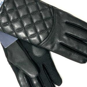 Isotoner | כפפות עור שחורות מגע לסמארטפון איזוטונר